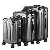 VonHaus 3pc Hard Shell ABS Trolley Suitcase Luggage Set with 4 Rotating Wheels, TSA Lock & Telescopic Handle –Black