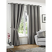 KLiving Neva Blackout Eyelet Curtains 90x90 - Silver (229x229cm)