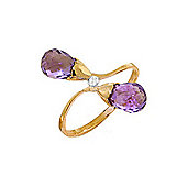 QP Jewellers Diamond & Amethyst Duo Briolette Ring in 14K Gold