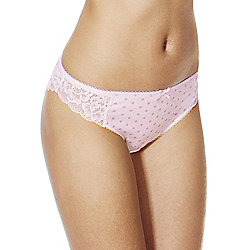 F&F 2 Pack of Petal Print and Plain Lace Trim Midi Briefs 16 Pink