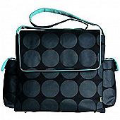 OiOi Messenger Bag (Charcoal Dot with Turquoise)