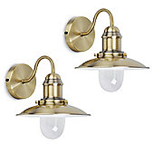 Pair of Ukai Fishermans Wall Lights in Antique Brass