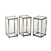 Parlane Set Of Three Glass Clip Top Canisters - Labelled Tea, Coffee & Sugar