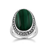 Gemondo Green Malachite Sparkling Marcasite Ring in 925 Sterling Silver