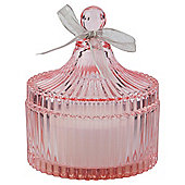 Decorative Glass Filled Candle Jar, Pink