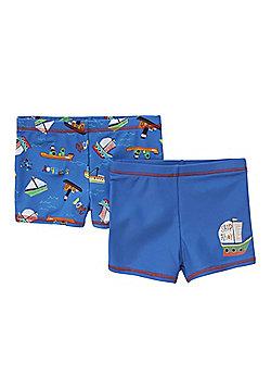 F&F 2 Pack of Boat Print Swim Shorts - Blue
