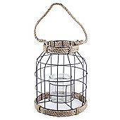 'Carlo' Metal & Rope Nautical 28cm Garden Home Wedding Lantern