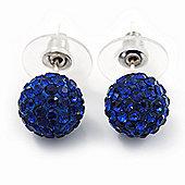 Montana Blue Swarovski Crystal Ball Stud Earrings In Silver Plated Finish - 9mm Diameter