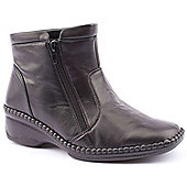 Caravelle Ladies Extra Wide Norma Duo Black Ankle Boots