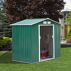 Outsunny Lockable Garden Shed Roofed Storage Building Sheds (4 x 6FT, Green)