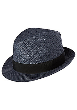 F&F Contrast Band Textured Straw Trilby - Blue