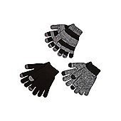 F&F 3 Pack of Touch Screen Gloves - Grey & Black