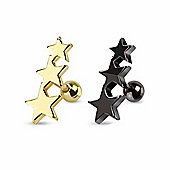 Gold & Black Anodised Surgical Stainless Steel Body Piercing Triple Star Tragus Barbells
