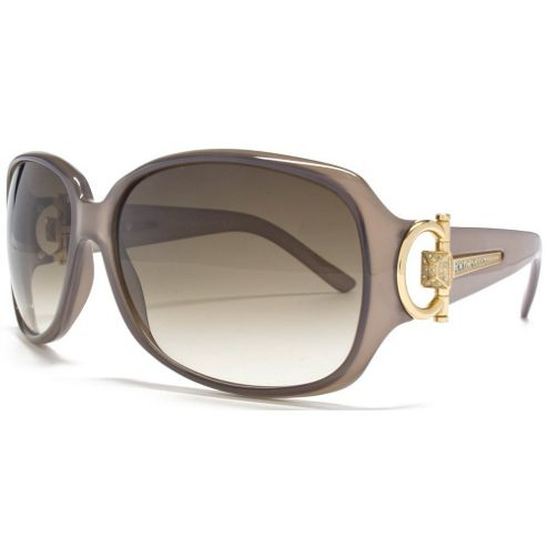 Gucci Sunglasses Square in Grey Brown featuring a Gold Diamante Hinge.