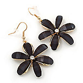 Black Acrylic 'Daisy' Drop Earrings In Gold Plating - 50mm Length