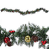 Homegear 9Ft Decorated Christmas Pine Garland Holiday Xmas Decoration