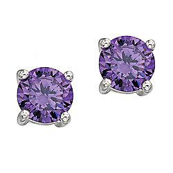Sterling Silver Purple CZ Round Stud Earrings