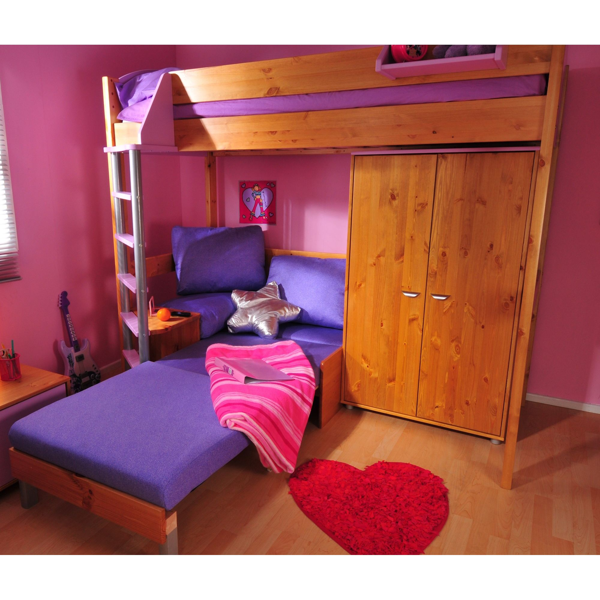 Stompa Casa High Sleeper with Sofa Bed and Wardrobe - Antique - Blue - Pink at Tesco Direct
