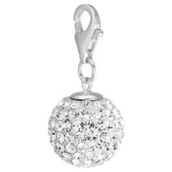 Sterling Silver White Crystal Ball Charm