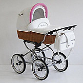 Scarlett Retro Baby 3in1 Travel System - Pink - White Wicker