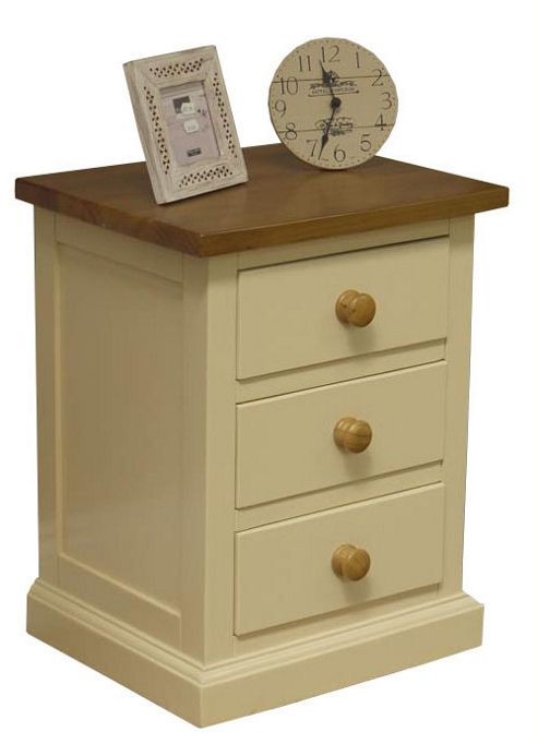 Cream Bedside Tables: Buy Cream Pine Painted 3 Drawer Bedside Table From Our
