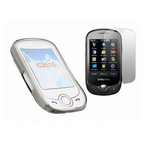 Black Twin Pack ProGel Skin Case & LCD Screen Protector - Samsung C3510 Genoa