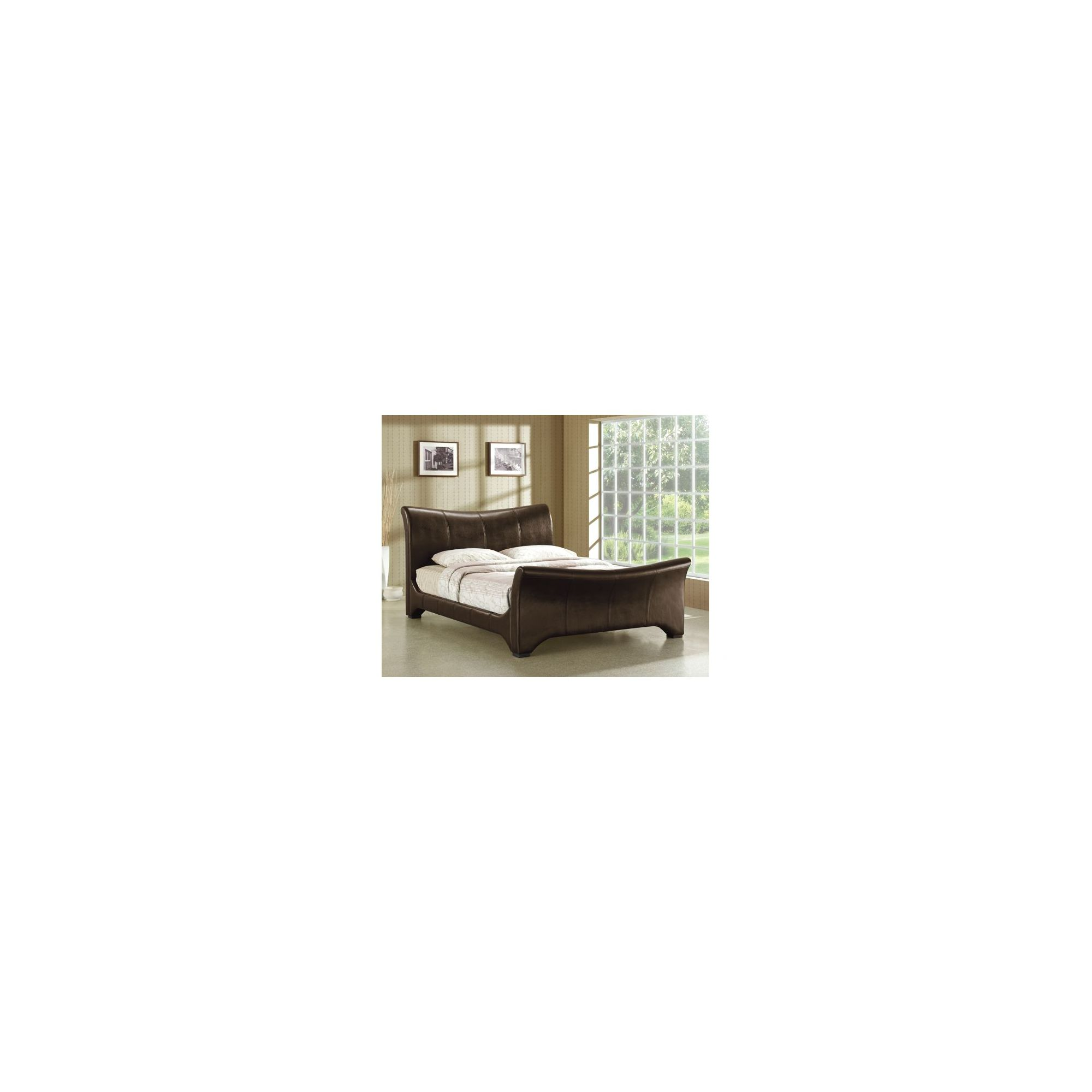 Altruna Wave Faux Leather Bed Frame - Double - Brown at Tesco Direct