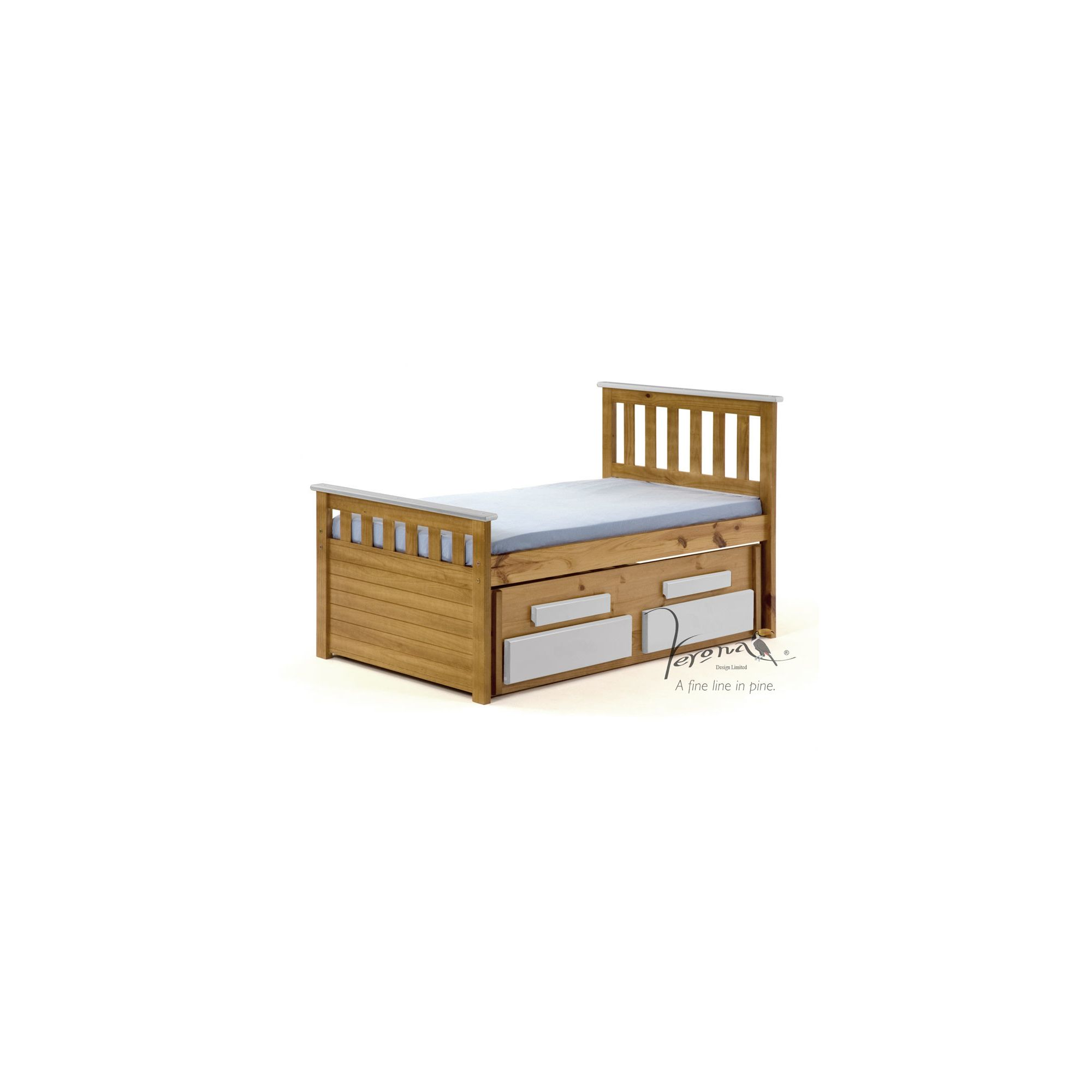 Verona Bergamo Kids Captains Bed with guest bed - Antique White at Tesco Direct