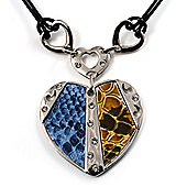 Silver Tone Heart Pendant On Leather Cord
