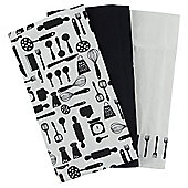 Utensil Jacquard Tea Towels, Black, 3 Pack
