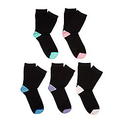 F&F 5 Pair Pack of Striped Toe Socks One Size Black