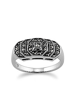 Gemondo Art Deco Stepped Ring, 925 Sterling Silver 0.28ct Marcasite Art Deco Style Ring
