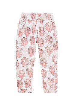 Charlie & Me Palm Print Harem Pants - Pink & White