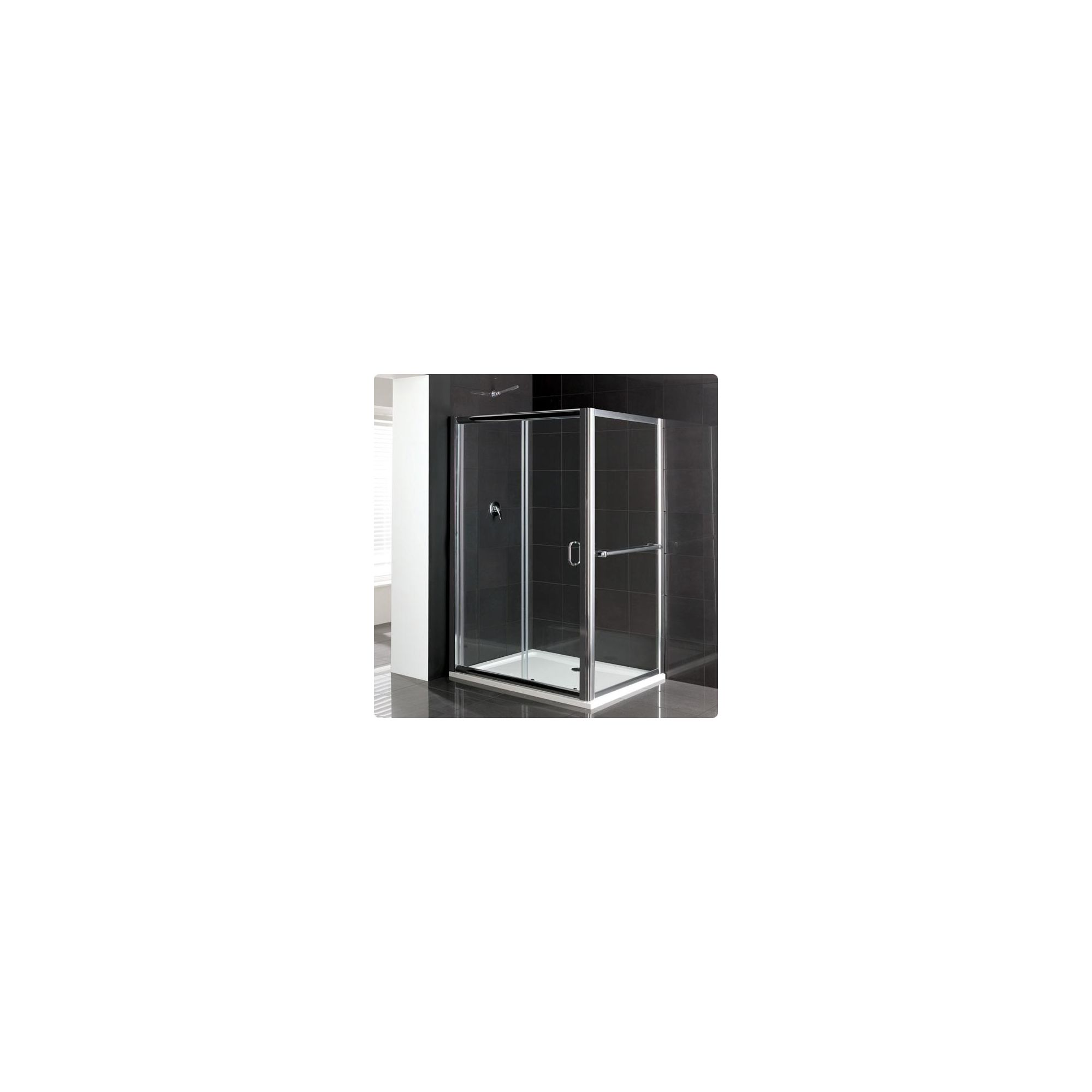 Duchy Elite Silver Sliding Door Shower Enclosure with Towel Rail, 1400mm x 760mm, Standard Tray, 6mm Glass at Tesco Direct