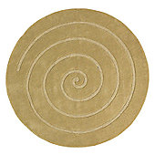 Oriental Carpets & Rugs Spiral Gold Tufted Rug - Round 140cm