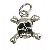 Sterling Silver Skull and Crossbones Pendant Charm