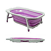 Splashy Plastic Folding Baby Bath - White / Lilac