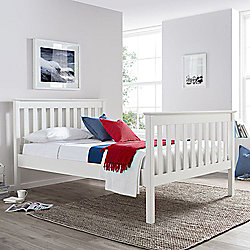 Happy Beds Bed 4FT6 Lisbon Contemporary White Finish Solid Pine Wood Frame Sleep