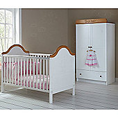 OBaby B is for Bear Cot Bed & Double Wardrobe (White)