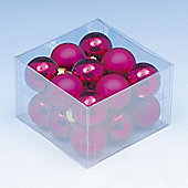 Pack of 18x 40mm Hot Pink Glass Balls with Enamel & Matt Finish