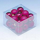 Pack of 18x 40mm Hot Pink Glass Balls with Enamel & Matt Finish