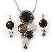 Rhodium Plated Graphite Grey Enamel, Crystal 'Multi Circle' Pendant & Drop Earrings Set - 38cm Length/ 5cm Extension