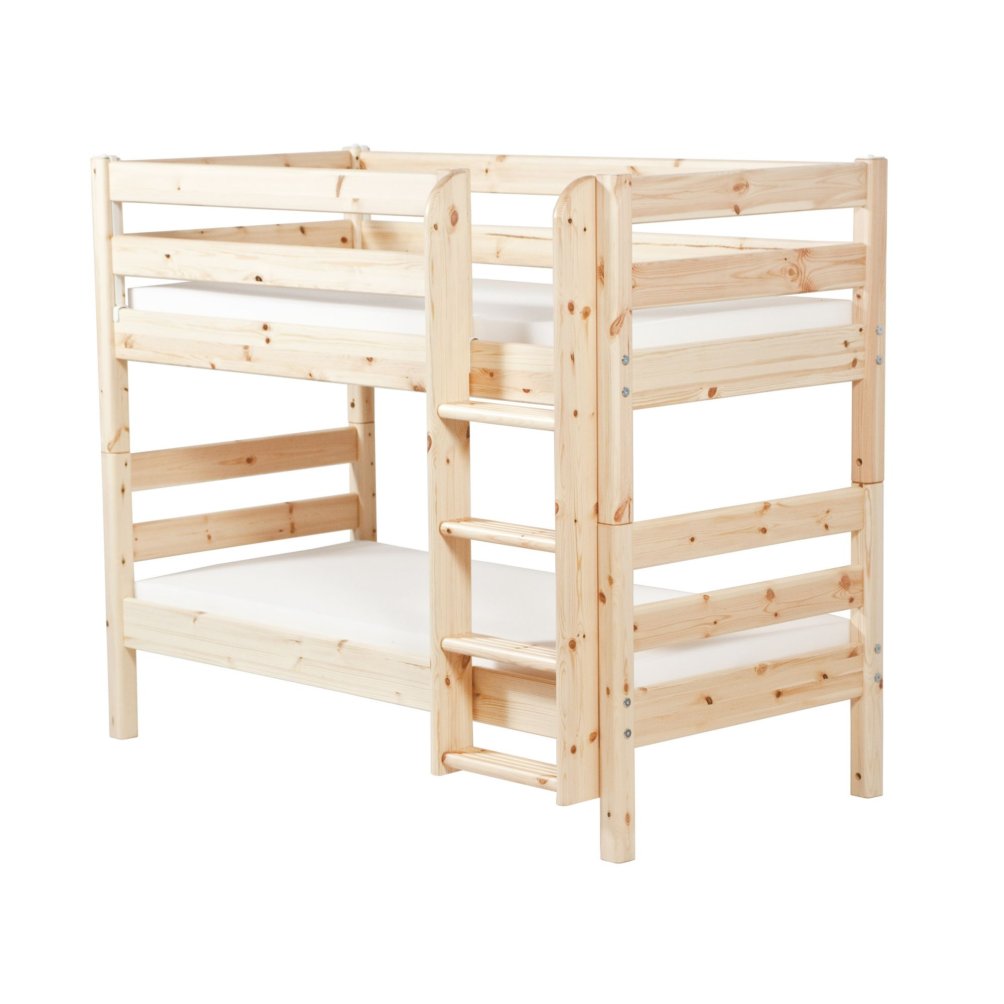 Flexa Classic Bunk Bed with Straight Ladder - Natural Lacquer at Tesco Direct