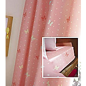 Polkadot and Butterfly Cotton Rich 72inch Drop Curtains with Matching Fitted Sheet
