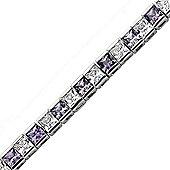 Rhodium-Coated Sterling Silver Tennis Bracelet
