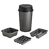 Tesco 4pc Kitchen Set With Touch Bin - Platinum