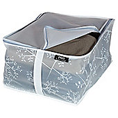 DomoPak Small Blanket Storage Box, White Leaf