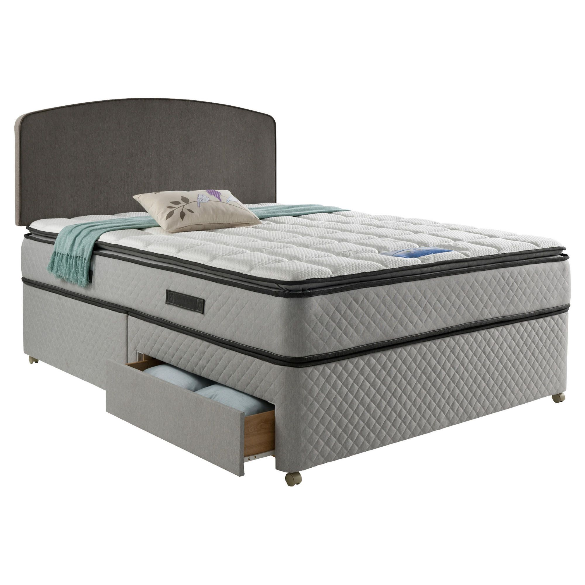 Sealy Pillowtop King Size 2 Drawer Divan Charcoal at Tesco Direct