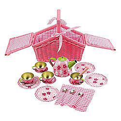 Bigjigs Toys Pink Basket Tea Set