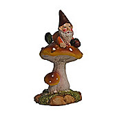 Tum the Resin Garden Gnome Sitting on a Mushroom